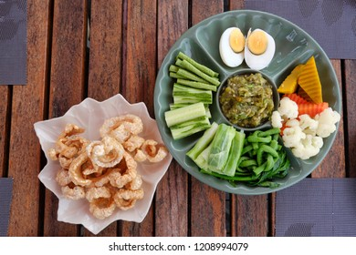 hors d'oeuvre local food of north part of Thailand on top view. Include Northern Thai Green Chilli Dip with vegetable and pork snack