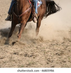 Horse in action during a rodeo event
