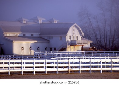 Horse barn cold winter morning