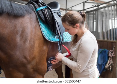 Horse becomes saddle, lap strap is led under the horse by