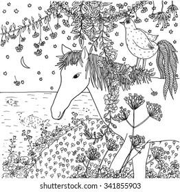 Horse and bird. Hand drawn illustration.