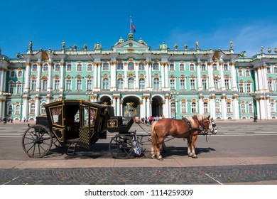 Horse carriage on Palace square and Hermitage museum, Saint Petersburg, Russia