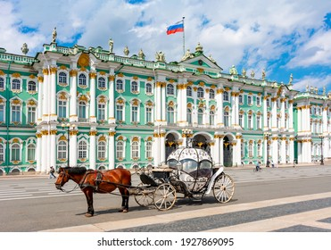Horse carriage on Palace square and Hermitage museum at background, St. Petersburg, Russia - Shutterstock ID 1927869095
