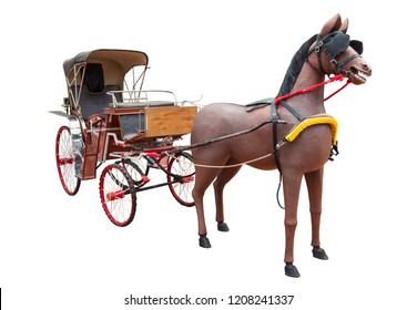Horse carriage on a white background.