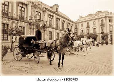 Horse carriage in Seville. Vintage.