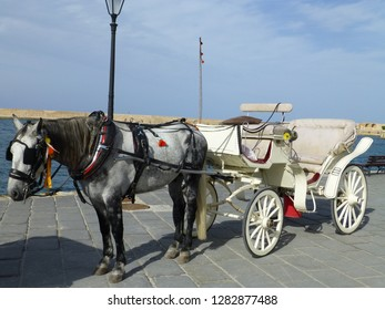 Horse and Carriage used to take tourist's on trips around the arear. Chania. Crete.