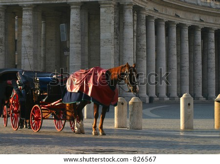 71e715c6d44 Horse   Carriage at Vatican Square  A horse and carriage stand in the early  morning
