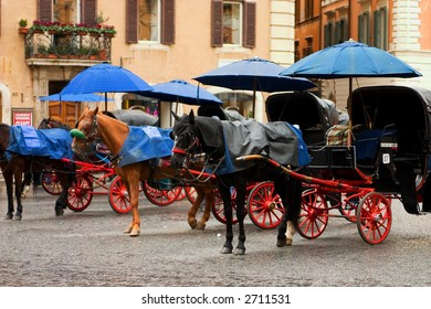 Horse carriages waiting for customers on a rainy day on the piazza di spagna.