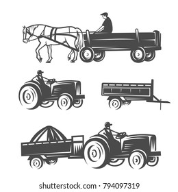 Horse with cart and tractors. Black and white illustration.
