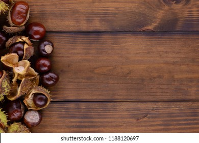 Horse chestnut on a brown wooden table
