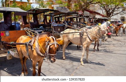horse drawn carriage in the old spanish town in vigan, south ilocos, philippines