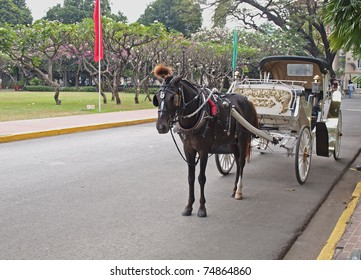 horse driven hispanic carriage at fort santiago, intramuros manila