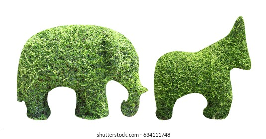 horse and elephant made from carved bush on isolated background