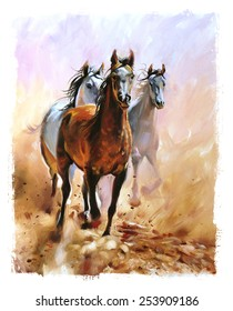 Horse equestrian passion oil painting torn edges