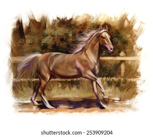 Horse equestrian passion oil painting Palomino