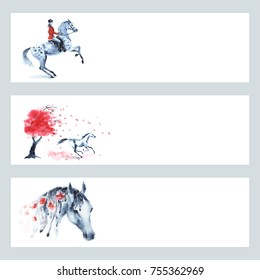 Horse equestrian traditional england fox hunting style red banner set. Watercolor hand painting card with dapple grey horse and horseback rider girl. Drawn autumn tree art background, galloping.