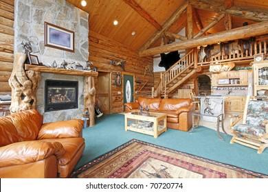Horse farm log cabin in Washington State