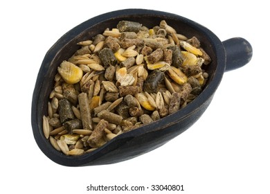 horse feed with corn, barley, oats grain and supplement granulates on a rustic wooden scoop isolated on white