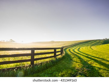 Horse Fence Snakes its Way Over the Hill in rural Kentucky