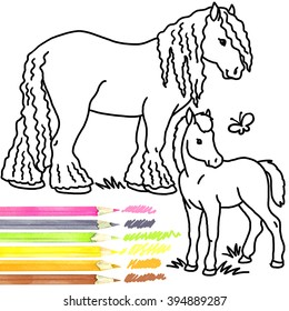 Horse and foal Coloring book
