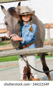 Horse and girl, ranch - Lovely girl with horse on the ranch