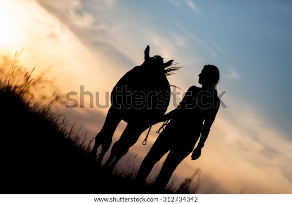 Horse and girl silhouette in the sunset