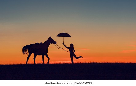 Horse and girl with umbrella on romantic sunset. Friendship scene with horse silhouette, horsemanship concept.
