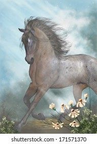 The Horse - A gorgeous brown horse galloping through a meadow!