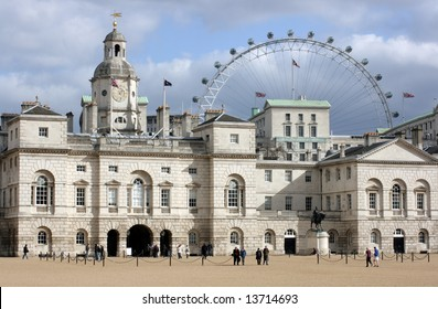 Horse Guard's Parade, St.James London with the Millennium Wheel visible in the background.