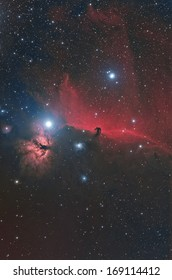 Horse Head and Flame Nebula imaged in narrow band and color