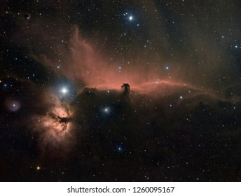 Horse head nebula in orion constellation taken by telescope with special filters.