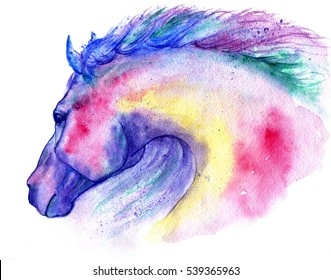 Horse head watercolor illustration. Hand painted colourful aquarelle. Isolated on white background.