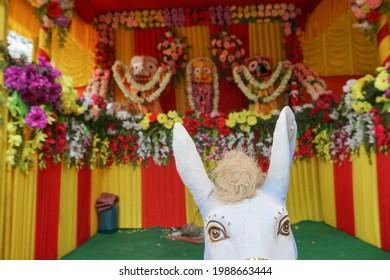 Horse idol dragging chariot of God Jagannath, Balaram and Suvodra is being worshipped. Ratha jatra festival at Howrah, West Bengal, India.