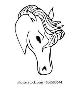 Horse illustration. Doodle style. Design icon, print, logo, poster, symbol, decor, textile, paper, card.