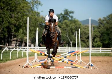 horse and jockey jumping