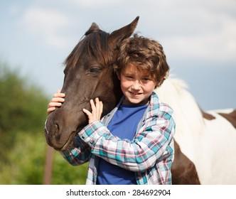 Horse and Jockey - Little boy and little horse - best friends