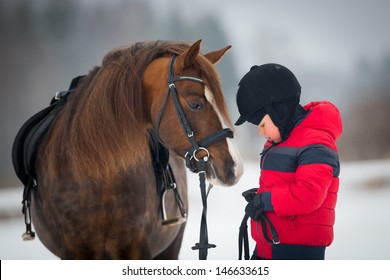 Horse and Jockey - Little boy and Welsh pony.
