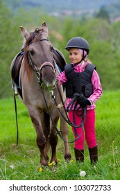 Horse and jockey - little girl is grazing the horse on the meadow