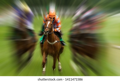 horse and jockey race action Motion blur effect