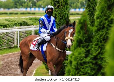 horse jockey horse race rider preparing at the track