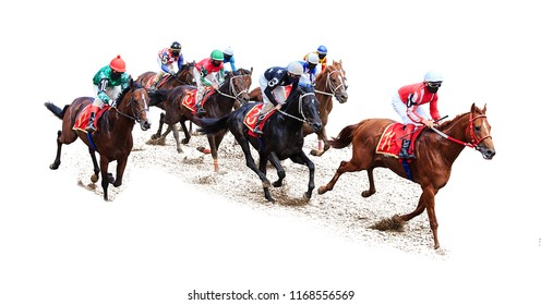 horse jockey racing competition on isolated white background