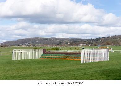 Horse jump fence at Cheltenham Racecourse.
