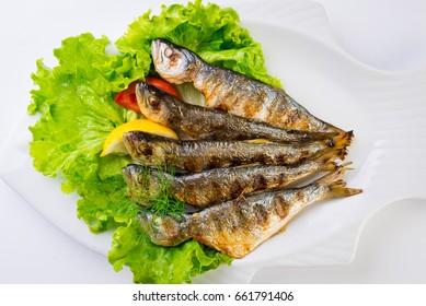 Horse mackerel on grill