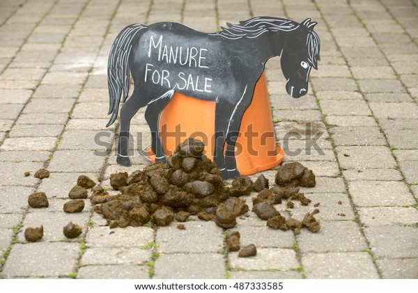 Horse manure for sale sign - September 2016 - Manure for sale sign in a stable yard