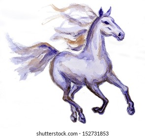Horse in motion, watercolor painting