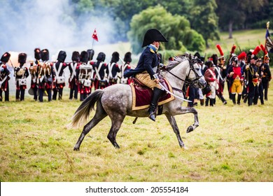 Horse mounted officer at the reenactment of the Battle of Wavre 1815. This blocking action kept the French soldiers from reaching Waterloo. This battle helped the Allied forces defeat the French army.