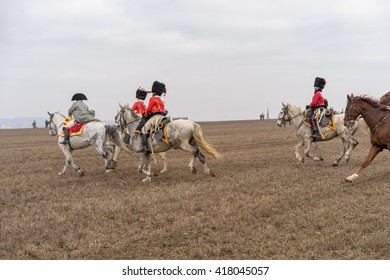 Horse mounted officers at the reenactment of the Battle of the Three Emperors (Battle of Austerlitz) in 1805.