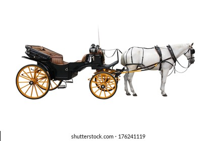 Horse and nice vintage coach with big yellow wheels. Isolated on white