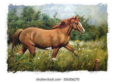 horse oil painting torn edges