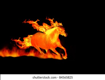 horse on fire isolated on black